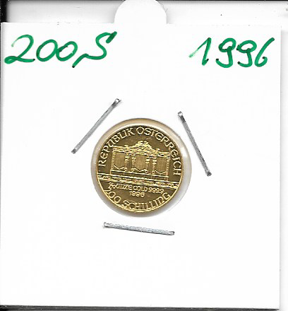 1996 Philharmoniker 1/10 Unze 200 Schilling ATS 3,11 Gramm