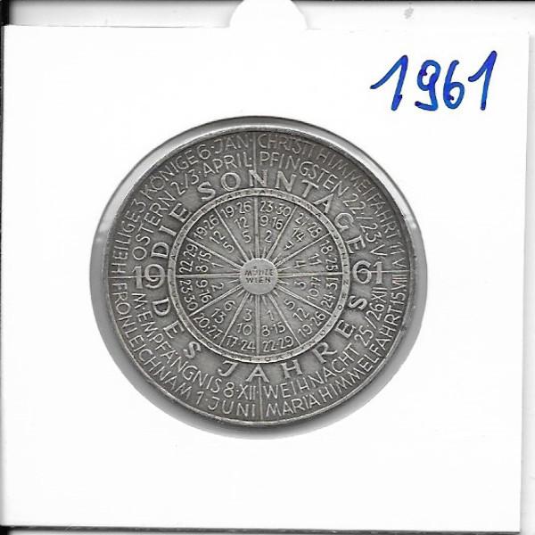 Kalendermedaille Jahresregent 1961 Bronze versilbert