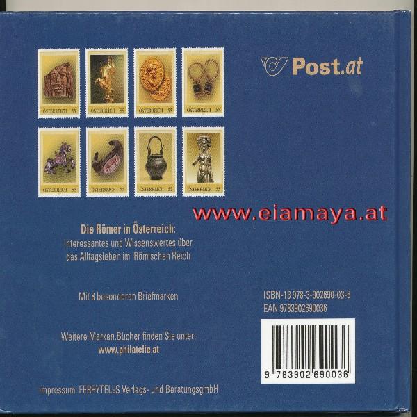 Briefmarkenbuch Die Römer in Österreich mit 8 besonderen Briefmarken