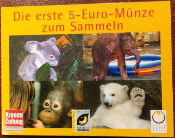 5 Euro Silber 2002 Tiergartenschönbrunn Affe ANK Nr.1c