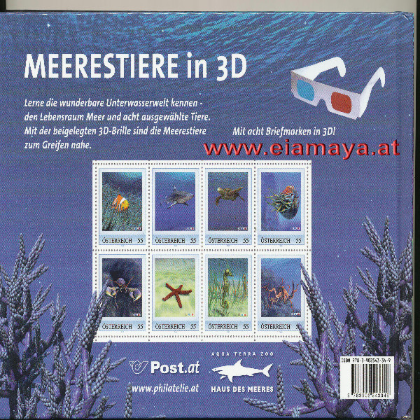 Briefmarkenbuch Meerestiere in 3 D mit 8 exklusiven Marken in 3 D