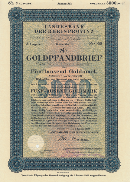 Landesbank der Rheinprovinz Goldpfandbrief 5000 Goldmark 1930