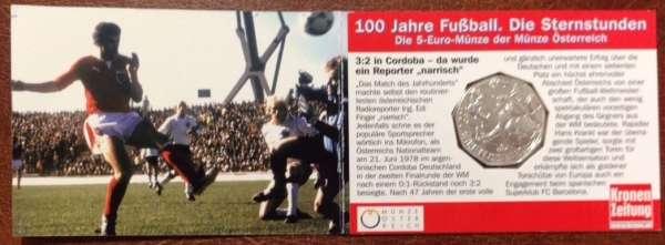 5 Euro Silber 2004 100 Jahre Fußball in Österreich Cordoba ANK Nr. 4c