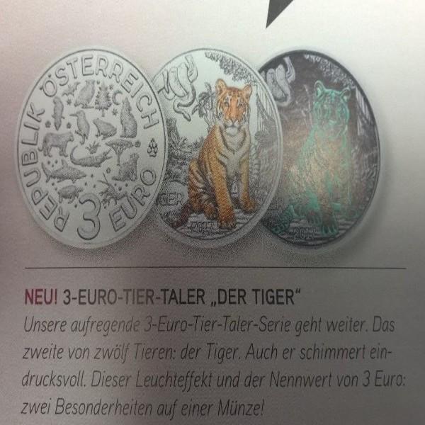 ANK Nr. 02 Tiertaler 3 Euro Österreich Tiger 2017