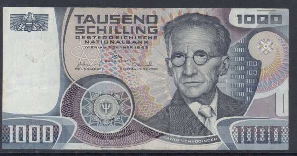 1000 Schilling 3.1.1983 Erwin Schrödinger Ank.285 Gebraucht NR: Q212564F Pick