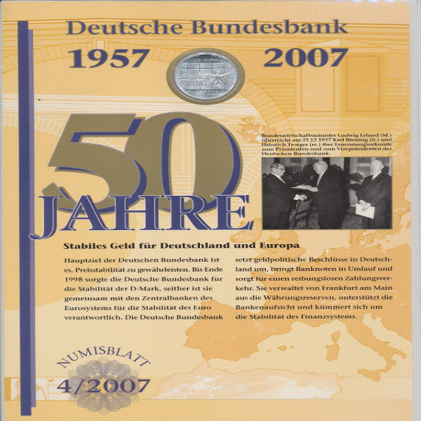"""Numisblatt Deutschland 4/2007 """"50 Jahre Deutsche Bundesbank"""" mit10-€-Silbermünze"""