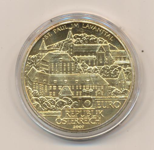 10 Euro Silber 2007 Stift St.Paul im Lavanttal 24 Karat Vergoldet lose ANK Nr. 12