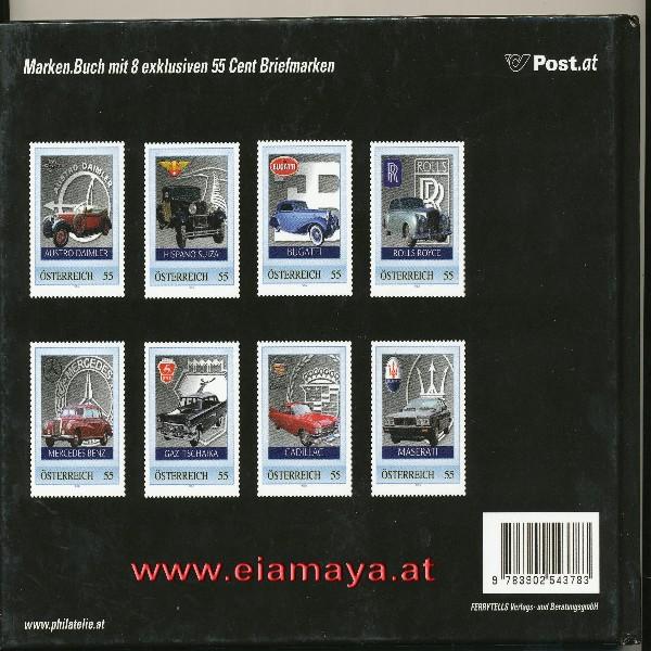Briefmarkenbuch Luxusschlitten inklusive 8 luxuriöser Autos auf Briefmarken