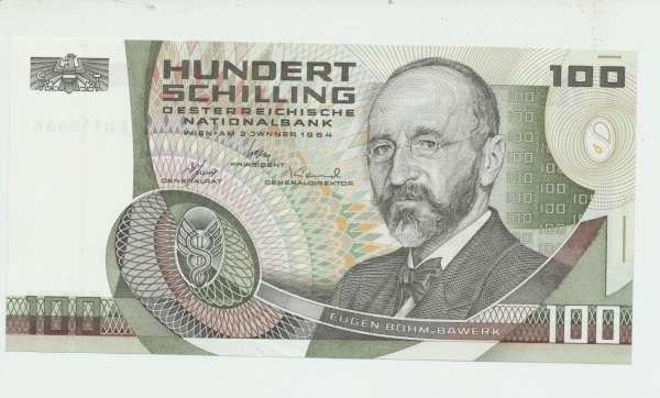 100 Schilling 2.1.1984 Eugen Böhm v. Bawerk Ank. 287b Erh.1 Nr.FH 11966 K Pick 150