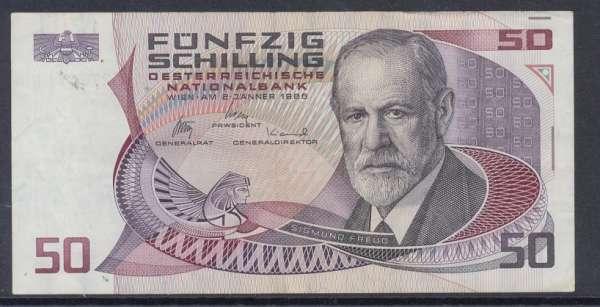 50 Schilling 2.1.1986 Sigmund Freud Gebraucht L273871H Ank Nr.288 Pick 149