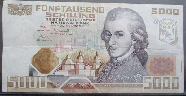 5000 Schilling 4.1.1988 Wolfgang Amadeus Mozart Gebraucht A 608152 I Ank.Nr. 290 Pick 153