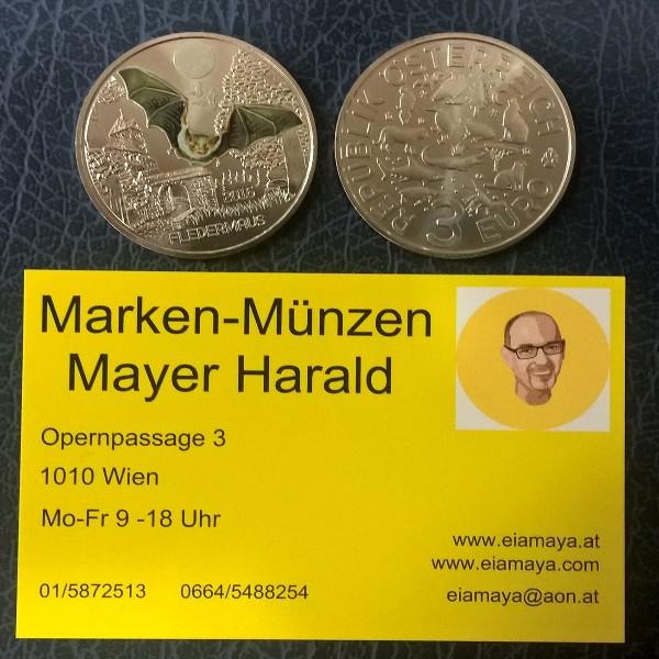 ANK Nr. 01 Tiertaler 3 Euro Österreich Fledermaus 2016