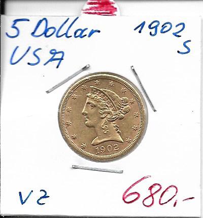 5 Dollar 1902 S USA Gold