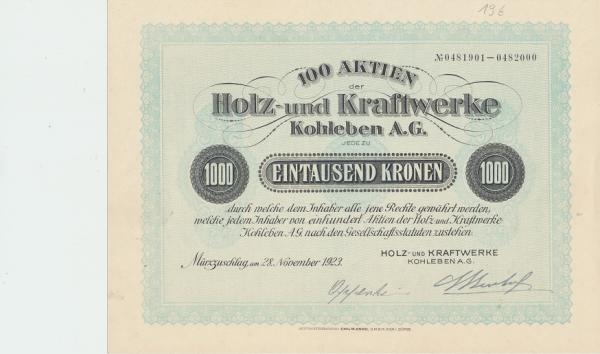 100 Aktien der Holz Kraftwerke Kohleben AG 1000 Kronen Wien 1923