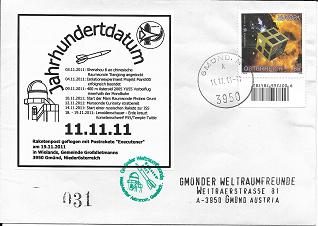 Raketenpost GWF WAG mit Startprotokoll Nr.31/40 Jahrhundertdatum 11.11.11