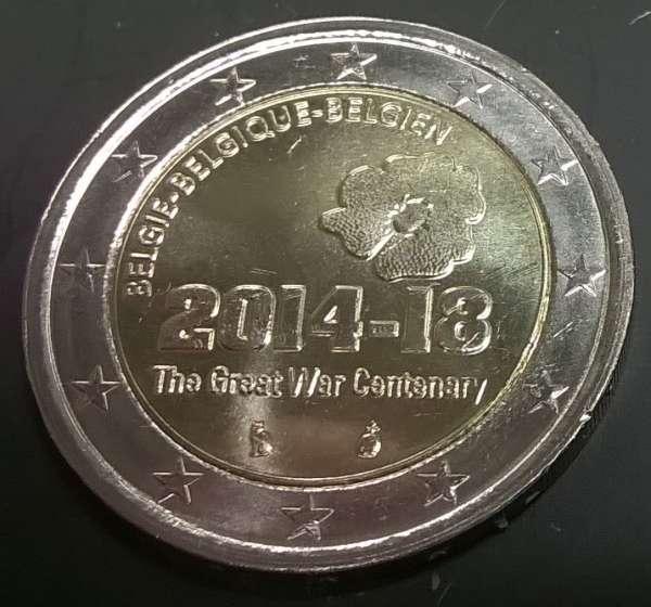 2 Euro Belgien 2014 100 Jahre 1 Weltkrieg