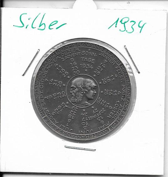 1934 Kalendermedaille Jahresregent Silber