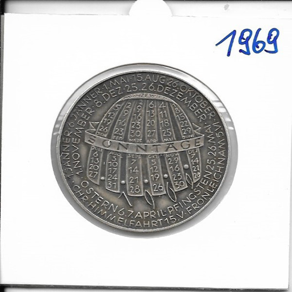 Kalendermedaille Jahresregent 1969 Bronze versilbert