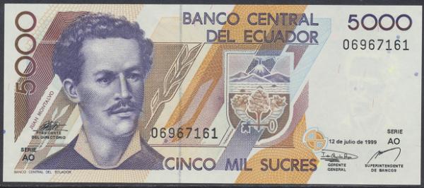 Ecuador – 5000 Sucres (1999) (Pick 128) Erh. UNC