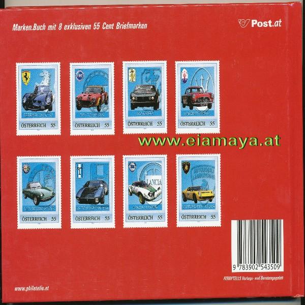 Briefmarkenbuch Italienische Sportwagen mit 8 erlesene Oldtimer Briefmarken