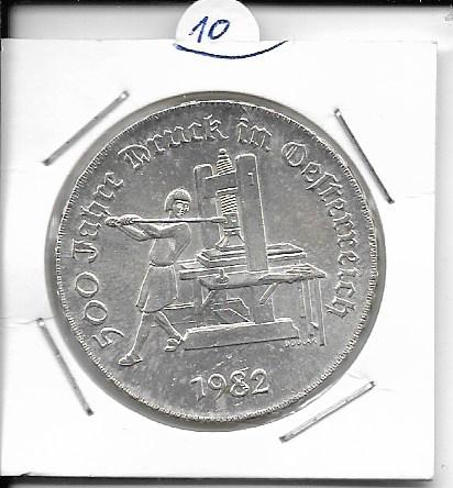 ANK Nr. 10 500 Jahre Druck in Österreich 1982 500 Schilling Silber Normal