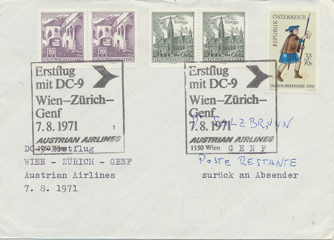Erstflug Aua DC-9 Wien - Zürich - Genf 7.8.1971
