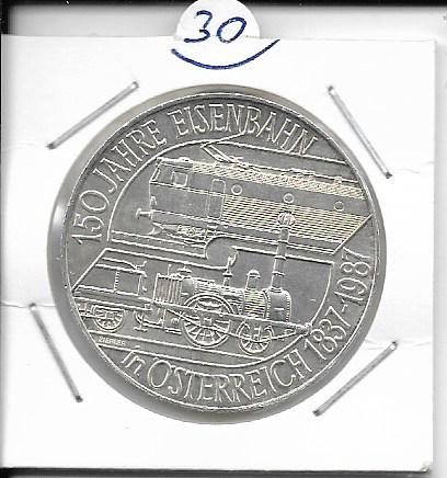ANK Nr. 30 150 Jahre Eisenbahn in Österreich 1987 500 Schilling Silber Normal