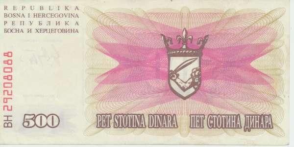Bosnien Herzogowina- 500 Dinara 1992 UNC - Pick Nr.14