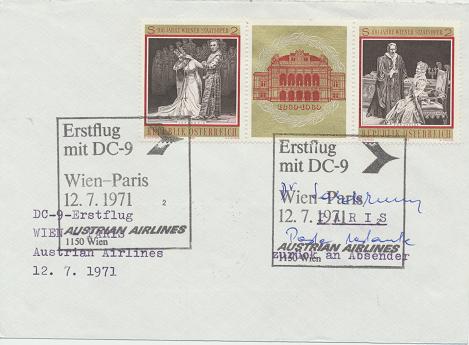 Erstflug Aua DC-9 Wien - Paris 12.7.1971