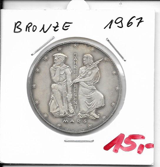 1967 Kalendermedaille Jahresregent Bronze versilbert