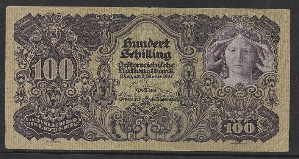 100 Schilling 3.1.1927 ANK Nr 217 Nr.1206 91344
