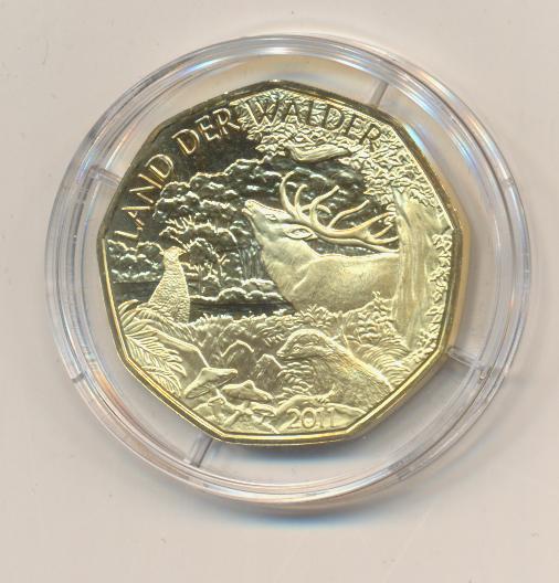 ANK Nr.20 24 Karat vergoldet 2011 Land der Wälder 5 Euro Silber