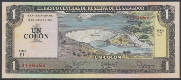 El Salvador – 1 Colon (1980) (Pick 125) Erh. UNC