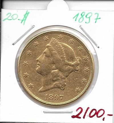 20 Dollar 1897 USA Gold $20, Double Eagle Liberty Head, U.S. Mint