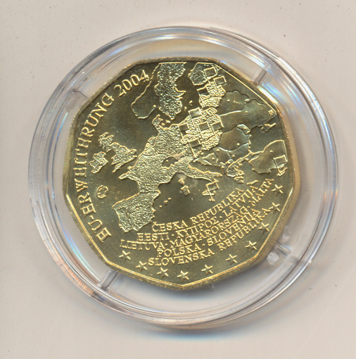 ANK Nr.03 24 Karat vergoldet 2004 Eu-Erweiterung 5 Euro Silber