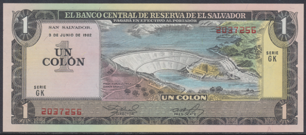 El Salvador – 1 Colon (1982) (Pick 133a) Erh. UNC