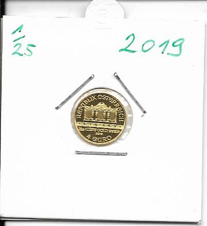 2019 Philharmoniker 1/25 Unze 4 € Euro 1,24 Gramm