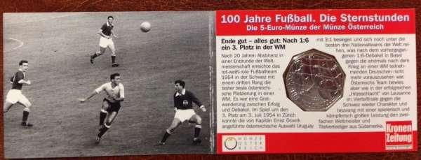 5 Euro Silber 2004 100 Jahre Fußball in Österreich WM 1954 ANK Nr.4c