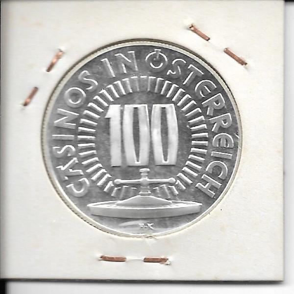 Casino Jeton 100 Schilling Semmering 125 Jahre Bahn 1979 Silber