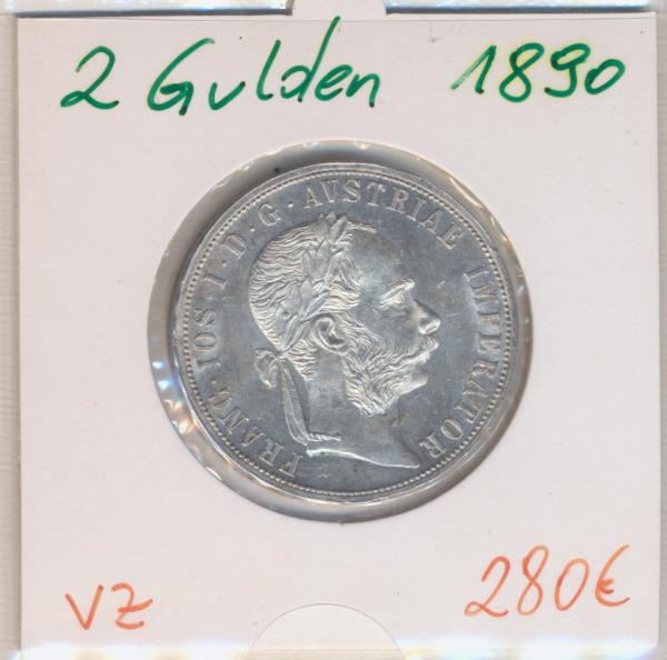 2 Gulden 1890 Silber Franz Joseph I