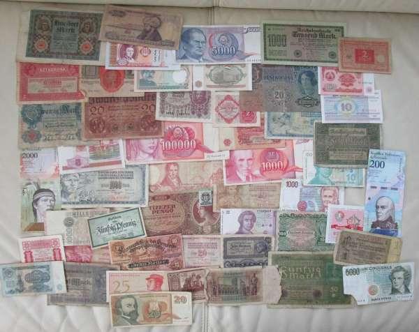 GELDSCHEINE Banknoten WELT 50 Stück gebraucht Lot 28032021/3