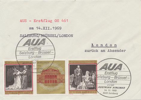 Erstflug AUA Salzburg-Brüssel-London 14.12.1969