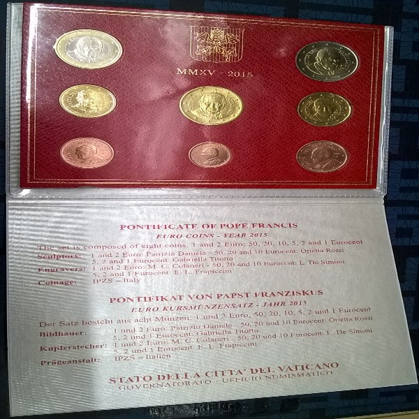 Kursmünzensatz Vatikan 2015 KMS Coinset