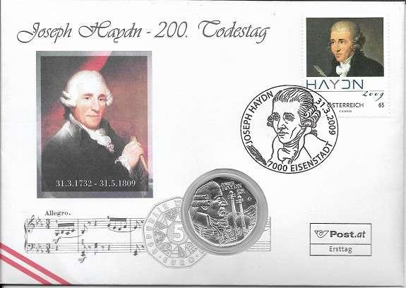NBE 19 200 Todestag von Joseph Haydn 2009 mit 5 Euro Silber Numisbrief