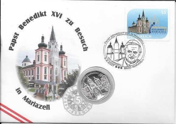 NBE 13) 2007 Papst Benedikt XVI in Mariazell mit 5 Euro Silber Numisbrief