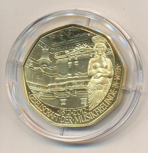 ANK Nr.21 24 Karat vergoldet 2011 200 Jahre Gesellschaft der Musikfreunde in Wien 5 Euro Silber