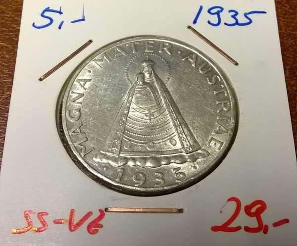 5 Schilling 1935 Silber