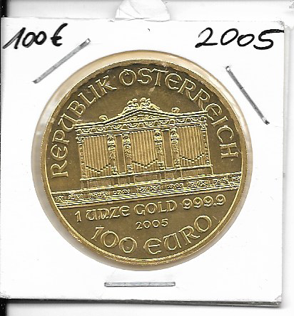 2005 Philharmoniker 1unze 100 Euro 31,1 Gramm