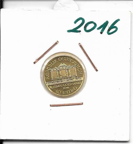 2016 Philharmoniker 1/10 Unze 10 € Euro 3,11 Gramm
