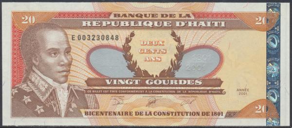 Haiti - 20 Gourdes 2001 UNC - Pick 271